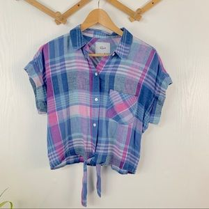 Rails Short Sleeve Front Tie Flannel Top